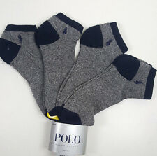 NWT 4 X PAIRS POLO RALPH LAUREN MEN GRAY NAVY LOGO LOW CUT NO - SHOW SOCKS