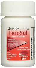 FeroSul 325mg (5GR) Ferrous Sulfate Coated Easy-To-Swallow 100 ct. Tablets (Red)
