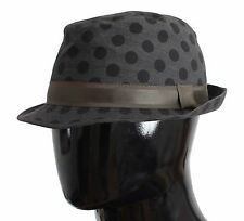 NWT $280 DOLCE & GABBANA Trilby Hat Gray Polka Dotted Wool Fedora Mens s. 58 / M