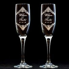 Personalized Vintage 3 Design Wedding Toasting Flutes Engraved Champagne Glasses