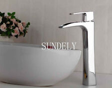 Waterfall Counter Top Basin Mixer Tap Taps Bathroom Sink Tall Chrome faucet -uk