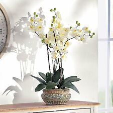 Artificial White Orchid with Brown Ceramic Pot Height 58cm Flower Home Decor NEW
