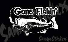 Gone Fishing Vinyl Decal Sticker - Many Colors - Bass Boat