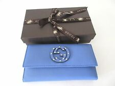 GUCCI 231843 INTERLOCKING GG STUDDED LOGO WALLET CLUTCH LEATHER