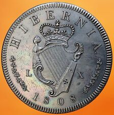 1808 Ireland Retro Pattern Proof Crown Bronzed Copper George III Hibernia