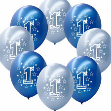 """20 Blue Boy's 1st Birthday Party Decoration Printed 11"""" Latex Balloons"""