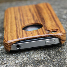 Natural Bamboo Wood Wooden Hard Case Cover For iPhone 4 4S Zebra Pattern