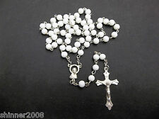 Rosary - White GLASS Prayer Beads - Crucifix Necklace