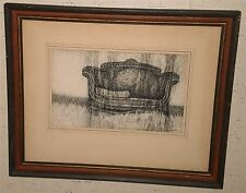"""8 x 14 """"Parlor Piece"""" Sofa in Grass Ink Drawing-70s-William Gorman"""