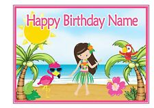 ND3 A4 Luau Hawiaan Tropical Personalised cake topper icing