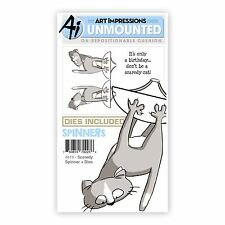 Art Impressions Rubber Stamp & Die Set  SCARDEY SPINNER & DIES - 3D-Cards -4819