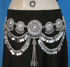 Carved Medallion Coin Charm BELT Tribal Fusion Belly Dance Costume Skirt Jewelry