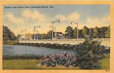 BRIDGE OVER SILVER LAKE REHOBETH BEACH DELAWARE POSTCARD 1944