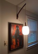 Vtg Mid Century Modern Danish Teak Wood Arm Lamp Hanging Light Fixture Eames Era