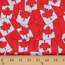 Red Maple Leaf Leaves Canadian Flag Canada Cotton Fabric Print by Yard D503.17