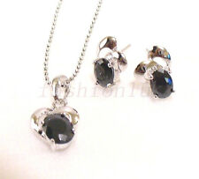 Black CZ Cubic White Gold Plated Kids Child Small Stud Earrings Necklace Set