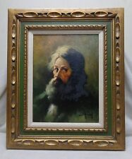 SGD Estate Vintage Oil Painting Old Man with Long Beard in Antique Decor Frame