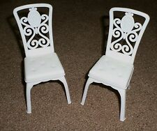 2 White Barbie Grand Hotel Replacement Dining Room Cafe Restaurant Chairs VGC