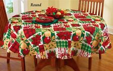 "Holiday Vintage Patchwork Christmas Decor Tablecloth 70"" Round Textured Poly"