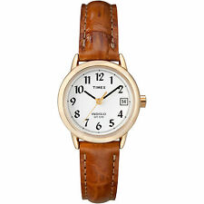 Timex T2J761, Women's Easy Reader, Brown Leather Watch, Indiglo, Date T2J7619J