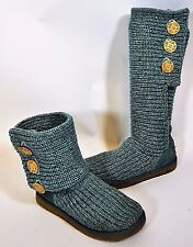 UGG Cardy Classic Teal Blue Cable Knit Boots #5819 Sz 7 / 38