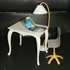 Office Room Furniture Desk Computer Chair PC Lamp Playset for Barbie Dolls