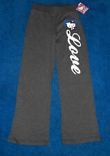 GIRLS GRAY HELLO KITTY LOVE YOGA WARMUP TRACK CASUAL PANTS SIZE 14 LARGE NWT