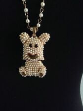 Wonderful Seed Pearl Dog Articulating Pendant On Faux Pearl Chain