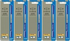 5 X Parker Quink Roller Ball Pen Refill Re Fill Blue Ink Ultra Fine UF NIB New