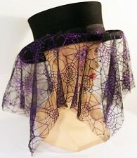 Steampunk-Gothic-Whitby-PURPLE Spider web HAT BAND Brilliant Top Hat Accessory