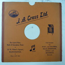 "78rpm 12"" gramophone record sleeve J A CROSS LTD , MANCHESTER"