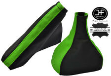 GREEN BLACK LEATHER FOR VAUXHALL OPEL ASTRA TWINTOP 2005-2010 GEAR HANDBRAKE