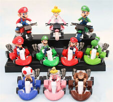 Sale 10pcs Super Mario Bros. Mini Kart Pull Back Car PVC Figure Toys Kids Gift