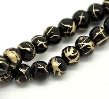 100 x Black Mottled / Drawbench Glass Beads - 6mm - B18251