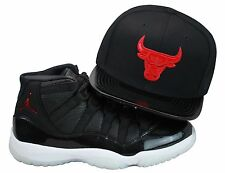 Mitchell & Ness Chicago Bulls Snapback Hat All BLK/Red PNT LTHR Jordan 11 72-10