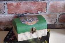 "Harry Potter inspired Slytherin trinket box ""Aged"" book pages"