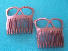 Vintage French Hair Combs Pair 1970s PInk Faux Pearl approx 5.5 cm wide