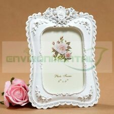 """4""""*6"""" Retro White Floral Square Classic Resin Wedding Photos Picture Frame"""