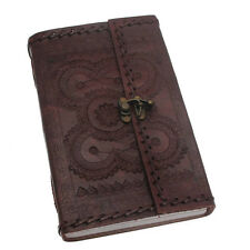 Indra Fair Trade Handmade XL Stitched Embossed Leather Journal Diary With Clasp