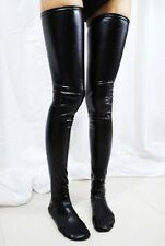 Sexy Black Coat of Paint 30.7'' Fetish Rocky Horror stockings PVC Latex Wet Look