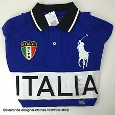Ralph Lauren Polo Big Pony Italia 67 nuevas Royal Blue Top T-shirt Talla M RRP £ 115