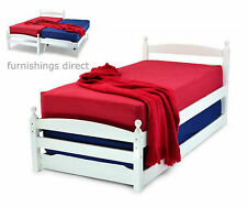 3FT SINGLE WHITE WOODEN BED WITH TRUNDLE GUEST BED & 2 X 3FT SINGLE MATTRESSES