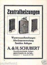 Zentralheizung Schubert Beuthen Bytom Reklame von 1925 Heizung Werbung Radiator