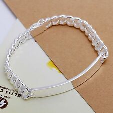 925 Sterling Silver Plated Bangle Cuban Link ID Mens Womens Bracelet +Box #BL119