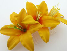 "Triple 3 1/2"" Canary Yellow Lily Silk Flowers Hair Comb, Bridal,Dance,Wedding"
