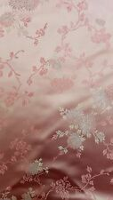 Pink Chinese Brocade Fabric, Pink Satin Fabric - 2 yards