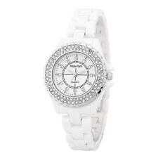 Alias Kim White Ceramic Band Silver Crystal Bezel Lady Women's Bracelet Watch