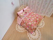 Miniature 1/12th scale dolls house BEDDING SET double bed Pink flower cover