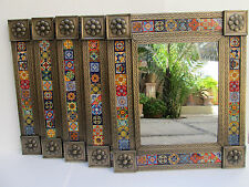 "Set of 5 punched TIN MIRRORS with talavera tile mexican wholesale lot 25"" X 29"""