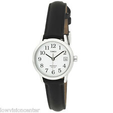 Timex Women's Indiglo Watch Silver with Date, Leather Band Low Vision Easy 2 C